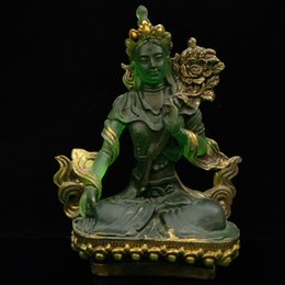 Chinese Antique Hand carved Glass Painted Buddha Model Statue   LL017