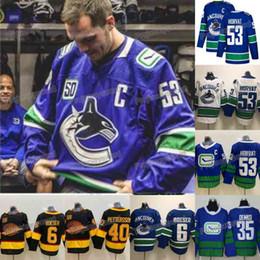 Vancouver-hockey-trikots online-Mens 53 Bo Horvat mit C-Patch Jersey Vancouver Canucks Alexander Mogilny Thatcher Demko Brock Boeser Elias Pettersson Eishockey Trikots
