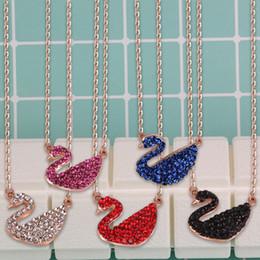 Продажа лебедей онлайн-Высокое качество женский подарок многоцветный AAA горный хрусталь Лебедь кулон ожерелье розовое золото ожерелье цепь для продажи