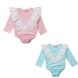 blusa rosa de manga comprida Desconto 2018 Casual Infantil Baby Girl Manga Comprida PinkBlue Romper Princesa Festa Bodysuit Outfit 0-24M