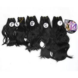 """trama del pelo marley Rebajas 8-14 """"Paquetes de cabello negro sintético Cuerpo Onda de la trama del pelo de la costura Cosa en Yaki Extensiones de cabello Resistente al calor 5pcs / Pack"""