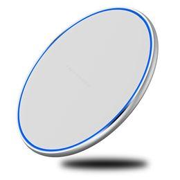 Argentina Mini Cargador inalámbrico rápido Pad QI 10W Energía Carga rápida Almohadilla metálica suave con luz LED para Iphone Xs Para Huawe Mate20 Todos los dispositivos QI cheap wireless pad chargers for iphone Suministro