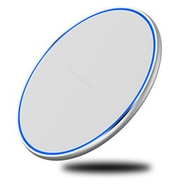 Cargador inalámbrico mini cojín de carga online-Mini Cargador inalámbrico rápido Pad QI 10W Energía Carga rápida Almohadilla metálica suave con luz LED para Iphone Xs Para Huawe Mate20 Todos los dispositivos QI
