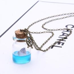 Бутылочки с мини-дрейфом онлайн-Бутылка Ожерелье Мини Дрифтинг Бутылка Кулон Ожерелье красиво Море Бумажная Лодка Ювелирные Изделия Партии Летом Пляж Ювелирные Подарки Подарки Цепи Ожерелье