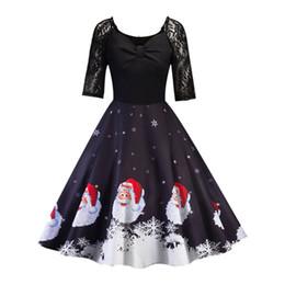 Canada Mode Femmes robes De Noël Femmes À Manche Manche Dentelle Patchwork Impression Vintage Robe Robe De Fête Sexy Vestidos designer de vêtements cheap lace peplum gowns Offre