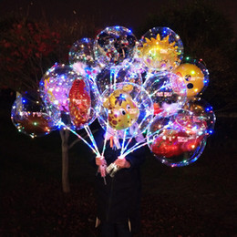 bobo cartoon Promo Codes - LED Cartoon Bobo Ball Balloon Luminous Light Up Transparent Balloons Toys Flashing Balloon Christmas Party Wedding bar club decoration