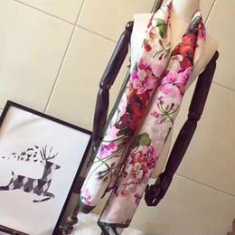 Etichette di seta online-Sciarpa di seta delle donne di marca di alta qualità del progettista 2019 Sciarpa di seta di scialle di seta del progettista dell'estate del fiore di 180x90cm di scialle