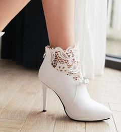 Bota de sapatos de seda on-line-Nova Chegada Hot Sale Specials Super Moda Influxo Cowgirl Bow Stiletto Seda Profissional Tamanho Grande Nobre Saltos Ankle Boots EU34-42