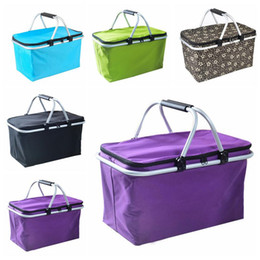 open cloth party Promo Codes - Handbags Outdoor Picnic Meal Bag Folding Oxford Cloth Ice Pack Portable Family Outdoor Picnic Handbags Takeaway Container Storage Bags LT806