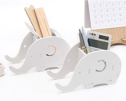 Papelería de escritorio online-Elefante Oficina de almacenamiento de escritorio de la oficina de bricolaje Pluma Teléfono Rack Holder Contenedor Misceláneas de escritorio Organizador Almacenamiento de papelería