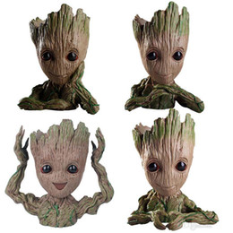 tree flowers Promo Codes - Tree Man Baby Anime Action Figure Dolls Penholder Guardians of The Galaxy 2 Model Hero pen pot and flower pot Toys groot