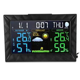Estação meteorológica exterior sem fio on-line-Estação meteorológica de previsão de cor digital com medidor de pressão barométrica interior / exterior sem fio sensor de temperatura