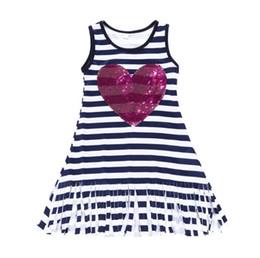 Listras de Navywhite novo design bebê meninas vestido de dia dos namorados crianças lantejoulas coração imprime boutique roupas 100% algodão vestido de Fornecedores de corações de lantejoulas brancos