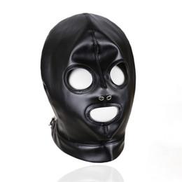 2019 duende mágico Preto Faux Leather Voltar Lace Up Fetish capô aberto Olhos e Boca Aberta Gothic Gimp Slave Role Play Cabeça Máscara Traje Masqrade