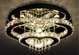 2019 lámpara de techo de cristal anillo de luz moderna Moderno simple Cristal led lámpara de techo corazón doble anillo dormitorio principal luz techo luz casa pasillo restaurante LLFA rebajas lámpara de techo de cristal anillo de luz moderna