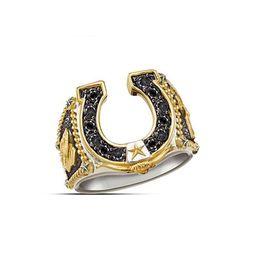 2019 anéis de casamento da jóia ocidental New Trendy Gold Silver Cor dobro preto Zircon Ocidental Espírito U Wedding Forma Jóias Anel Man Botas Cowboy Party para o anel anéis de casamento da jóia ocidental barato