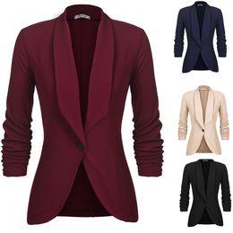 Vestuário, Sapatos Acessórios Mulheres Xaile Lapela 3/4 Ruched Sleeve Sólido One Button Slim Fit Casual Blazernew de
