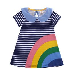 Vestido arco-íris meninas flor on-line-Girl Dress Verão Flores do arco-íris listrado Impresso Crianças Flower Dress Cotton Casual Criança Vestido INS venda quente do bebê roupa