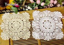 2019 toalha de crochet quadrada Moderno Handmade Crochet Branco Toalha De Mesa De Tampa Cozinha Rendas De Algodão Quadrado Almofada Toalha De Mesa de Mantela Para A Decoração Do Casamento toalha de crochet quadrada barato