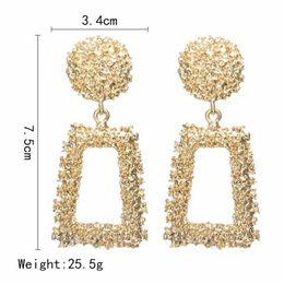 6 paire / lots Big géométrique Drop boucles d'oreilles pour les femmes Punk alliage déclaration boucle d'oreille femelle mode or couleur Brincos bijoux nouvelle marque ? partir de fabricateur
