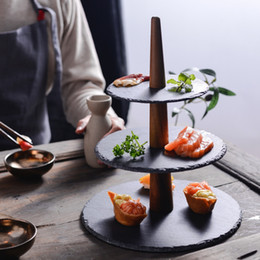 Bandeja japonesa on-line-Promoção! Rocha japonês Placa Três-Camada e vento Sushi Dessert Tray Placa Multi-Layer bolo Hotel