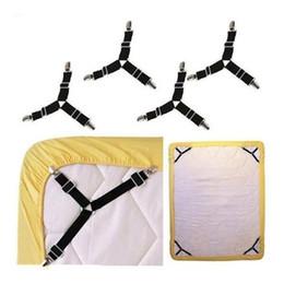 juegos de cama luna estrellas Rebajas Sujetadores sábana, 4 PCS Triángulo ajustable elástico tirantes Pinza Clip Holder correas para las hojas de cama, fundas de colchón, cojín del sofá (4