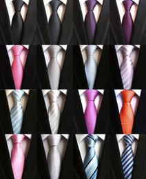2019 галстук фиолетовый чёрная полоса 8CM Fashion Classic Men's Stripe Tie Purple White Blue Black Pink Lavender Jacquard Woven 100% Silk Tie Necktie Polka Dots Ties