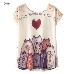 2019 gato bonito pôsteres Mulheres novidade Kawaii Camiseta Harajuku bonito posters T Shirt Cat Love Style New manga curta Tops M L XL desconto gato bonito pôsteres