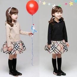 chicas flora vestidos de algodon Rebajas vestidos de niña de bebé otoño tela escocesa capucha 2 colores vestido de princesa de la muchacha linda del niño de manga larga vestido de ropa de bebé para niños AJY804