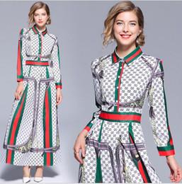 Damen casual satin kleider online-2019-Sommer-Fall Mode-Blumendruck Langarm Kragen Revers Ausschnitt Designer-Kleider der neuen Ankunfts-Sommer-Großhandelsfrauen-Damen Freizeit