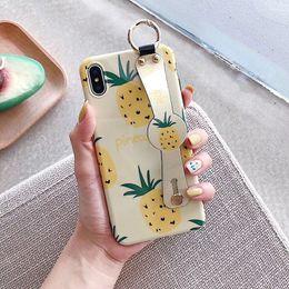 cajas de teléfono de frutas Rebajas Mytoto Phone Holder Case para iphone XR X Xs max Fruit Avocado Soft IMD Pineapple Wristband Stand Cases para iphone 7 8 6 6s plus Funda