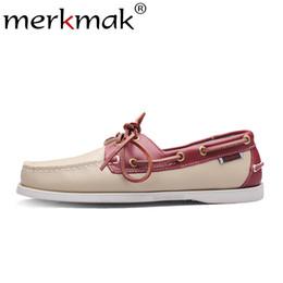 Mocasines cómodos para hombre. online-Merkmak Spring Sólido Barco de los hombres Calzado Moda Mocasines de cuero genuino Resbalón EnLace Up Zapatos casuales Hombre Cómodos Zapatos perezosos