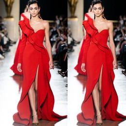 elie saab einfach Rabatt Elie Saab 2020 Einfache eleganten lange Hülsen-Rot-Abschlussball-Kleid-Front Split-formal Partei-Abendkleider Runway Fashion Prom Wear