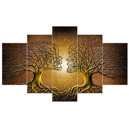 Abstrato de árvores on-line-5 Painéis Moderna Abstrata Cartaz Decoração Da Parede Amor Beijo Lady Árvore Cópias Da Pintura Da Lona Quarto Sala de estar Escritório Wall Art Decoração Sem Moldura