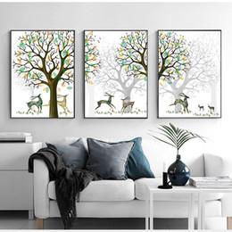 Ilustraciones de ciervos online-Yumeart Sika Deer y Gold Flower Tree Artwork Impresiones modernas Pinturas abstractas Estilo nórdico Cuadro de pared para la calcomanía de la sala de estar