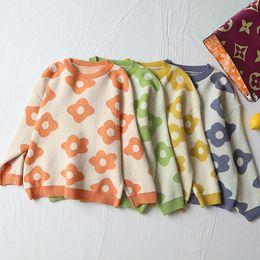 2019 sueter damas estampado floral Floral Impreso O-cuello Casual Jerseys de punto Mujeres 2019 Otoño High Street Señoras Suéteres Loose Knitwear cws0249-5