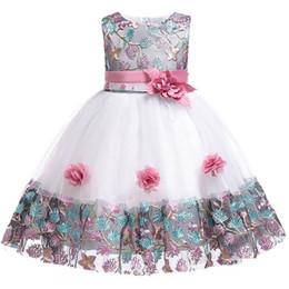 robe de princesse pour fille âgée Promotion Robe de mariée pour fillette pour enfants 2018 3 4 5 6 7 8 ans dentelle couleur correspondant robe de soirée princesse fille été bébé tutu vêtements