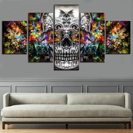 Moldura de óleo on-line-Cores abstratas Artístico Crânio, 5 Peças Cópias Da Lona Arte Da Parede Pintura A Óleo Decoração de Casa (Sem Moldura / Emoldurado)