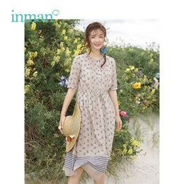 Women's Clothing Inman 2019 Summer New Arrival V-neck Literary Retro Floral Holiday Style Defined Waist Slim A-line Women Long Dress