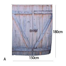 Portas de estilo country on-line-Estilo Country americano Cortina de Chuveiro Poliéster Velho Bronze Da Porta Da Garagem De Madeira Do Vintage Rústico Cortina de Chuveiro Do Banheiro Decoração Da Arte
