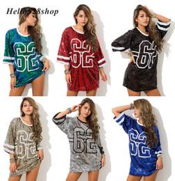 Camisas sueltas de baile online-Hello528shop # 62 Tops de lentejuelas sueltas para las mujeres Club de fiesta Camisas - Cantante Performance Dance Ropa Hip Hop Street Stage Tees