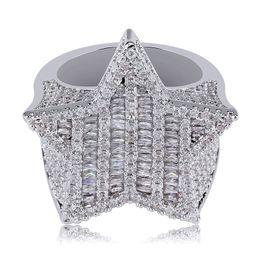 18-каратное кольцо из белого золота Скидка 18K золото Белое золото Mens Luxury Bling Цирконий Pentagram Хип-хоп кольцо диапазона Полный Алмазные Iced Out Rapper ювелирные подарки для Boyfriend