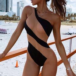 Mameluco negro de un hombro online-Body negro Sin mangas Sexy Body de una pieza tallas grandes Romper Women 2019 See through Summer One Shoulder Top Body Female