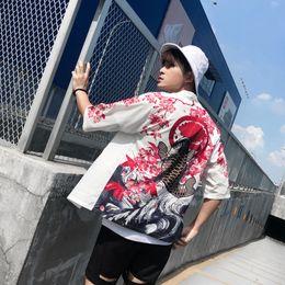 kimono japonés caliente Rebajas 2019 Venta Caliente Japonés Kimono Cardigan Hombres Carpa Impresión Floral Kimono Cardigan Hombres Blanco Verano Japón Chaqueta