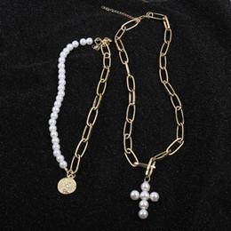 jóias da pérola da colar da moeda Desconto 2019 Design de luxo Pérolas De Imitação Gargantilha Colar Feminino Cruz Pingente Colares Para As Mulheres Da Cor do Ouro de Moda Jóias Coin