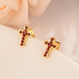 Orecchini placcati oro 24k croce con diamante rosso diamante dubai indiano palla orecchini gioielli sposa regali ricordo fidanzamento matrimonio da