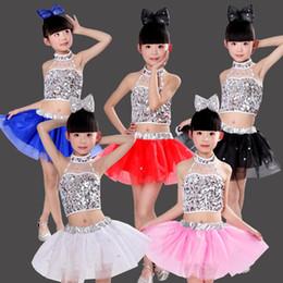 2019 catena di danza del ventre rosso Costumi per bambini costumi da ballo asilo ragazze gonne morbide per bambini danza moderna jazz paillettes performance clothin
