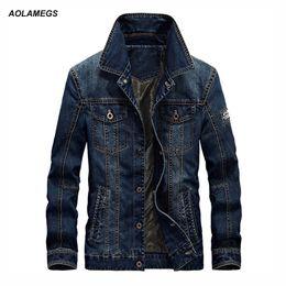 Джинсы chaqueta онлайн-Aolamegs New Men's Denim Jackets Coat Large Size Casual Male chaqueta Spring Autumn Long Sleeve Blue Men Jeans Tops  Coats