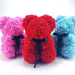 Ours en plastique en Ligne-25 cm de hauteur fleurs portent des fleurs artificielles en plastique ours beaucoup de couleurs pour choisir des filles cadeau anniversaire présent cadeau anniversaire mousse
