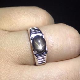 anillos de dedo personalizados Rebajas Natural luz estelar anillos de los hombres de zafiro línea de estrella de buen diseño atmósfera número de anillo de finger de plata 925 se puede personalizar